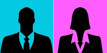 Hombre de negocios y empresaria perfil avatar cuadros en el fondo de colores Foto de archivo - 25251065