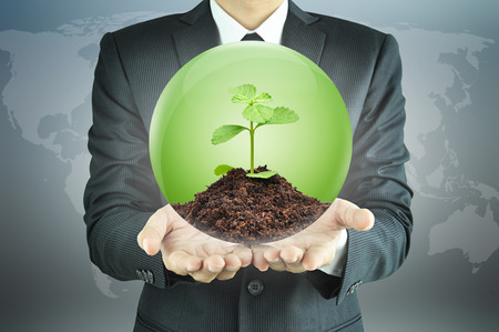 Businessman holding green sapling with soil inside the sphere - conservation concept photo