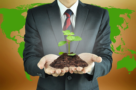 Businessman holding green seedling with soil - conservation concept photo