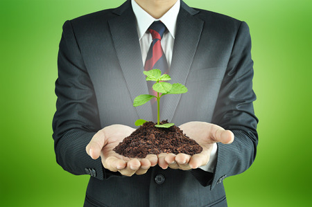 soil conservation: Businessman holding green seedling with soil - conservation concept Stock Photo