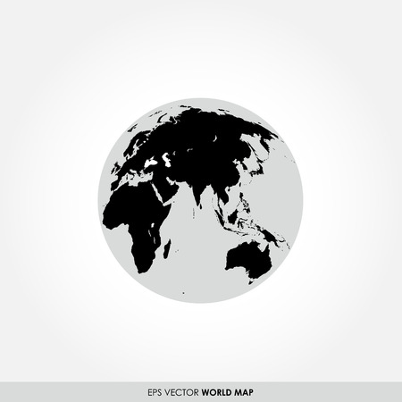 worldmap: Black world map on globe icon