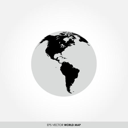Kaart van de wereld op bol icoon die het Noorden Zuid-Amerika continenten