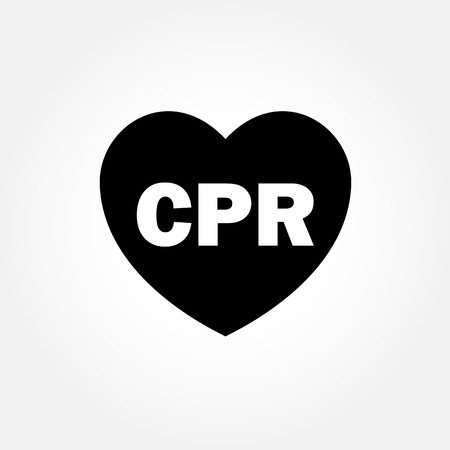cpr: Heart icon with CPR sign Illustration