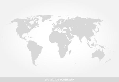 Lumière carte du monde détaillée gris sur fond blanc