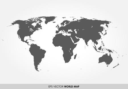 Grijze gedetailleerde kaart van de wereld op een witte achtergrond Stock Illustratie