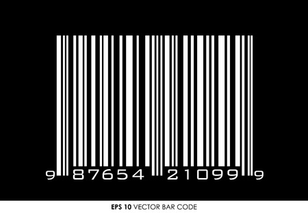 UPC barcode with 12 digits on black background