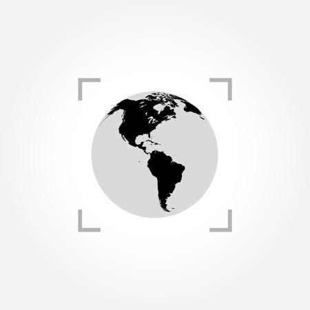 worldmap: Globe icon inside camera focus frame
