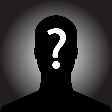 Silhouette de l'homme anonyme avec point d'interrogation