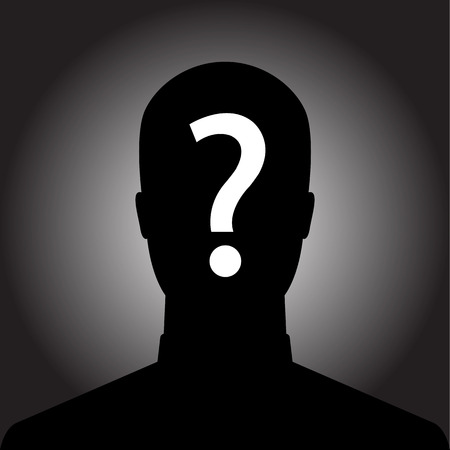 Silhouette of anonymous man with question mark Illustration