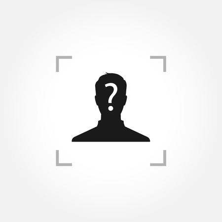 Anonymous male icon with question mark inside camera focus frame Vector
