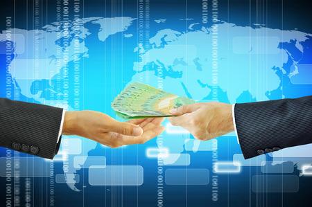 australian dollar notes: Businessman hands giving money - Australian dollars