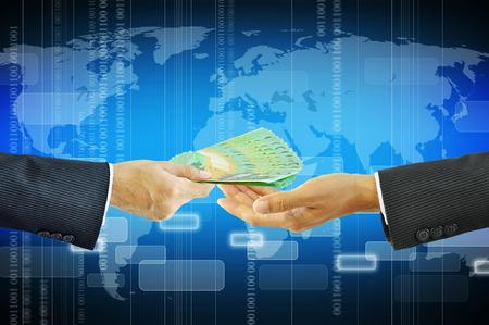australian dollars: Businessman hands receiving money - Australian dollars