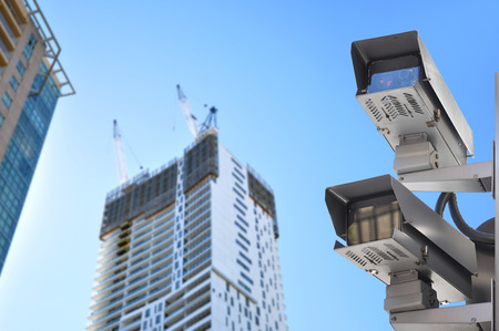 building safety: CCTV or surveillance cameras in the city Stock Photo