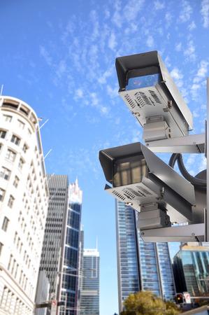 city surveillance: CCTV or surveillance cameras in the city Stock Photo