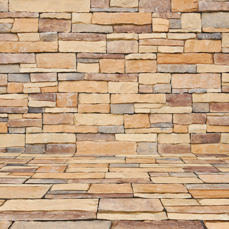 overlapped: Stone brick texture room as background Stock Photo