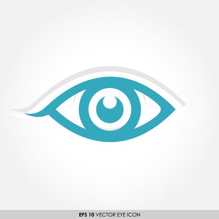 ojo azul: Icono azul vector del ojo