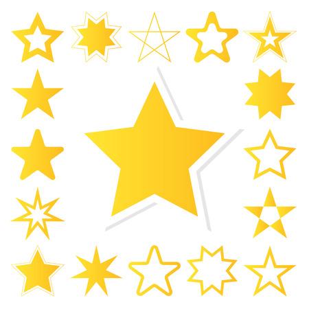 yellow star: Yellow star vector icon set