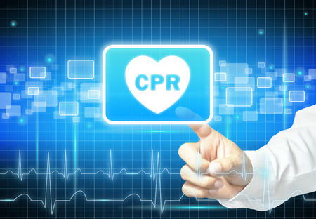cpr: Hand touching CPR sign on virtual screen - health care & medical concept