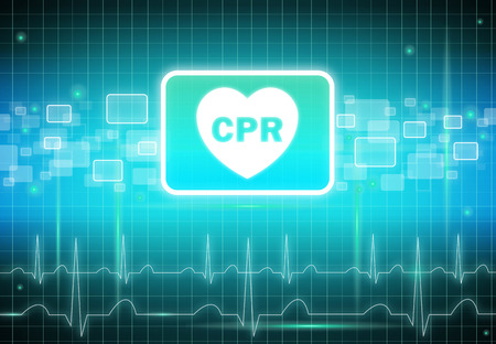 cpr: CPR sign on virtual screen - health care & medical concept Stock Photo