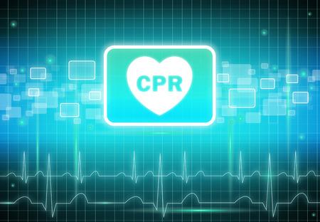 medical concept: CPR sign on virtual screen - health care & medical concept Stock Photo