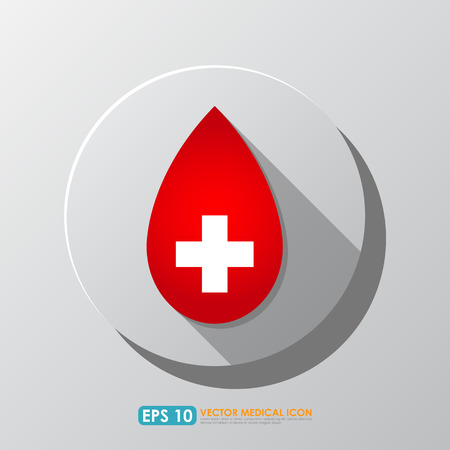 red cross: Red blood drop icon with cross sign - blood donation & medical concept