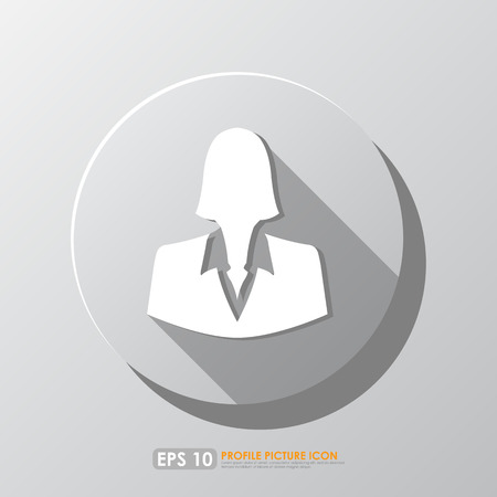 White businesswoman profile picture icon with shadow in circle photo
