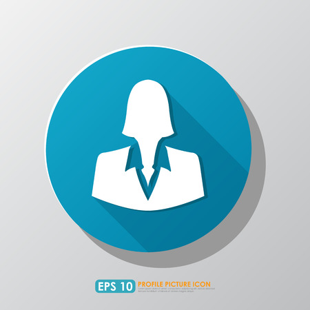 Businesswoman profile picture icon with shadow in blue circle photo