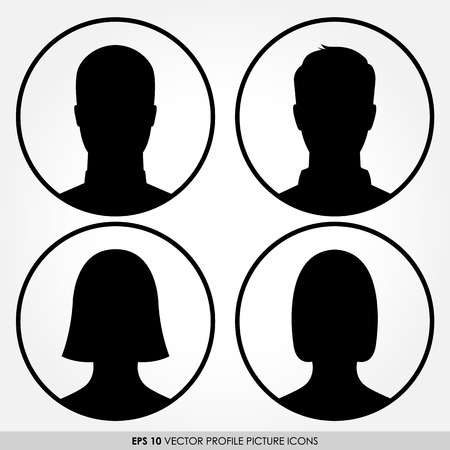 Set of male and female avatar profile pictures in circles photo
