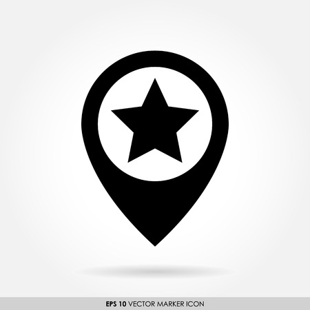 favorite: Black star marker sign as favorite icon