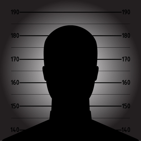 mug shot: Mugshot or police lineup picture of anonymous man silhouette