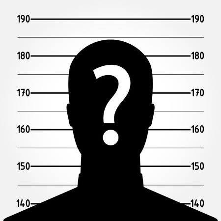 busted: Mugshot or police lineup picture of anonymous man silhouette - suspect concept