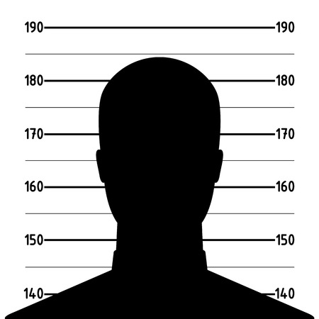 busted: Mugshot or police lineup picture of anonymous man silhouette