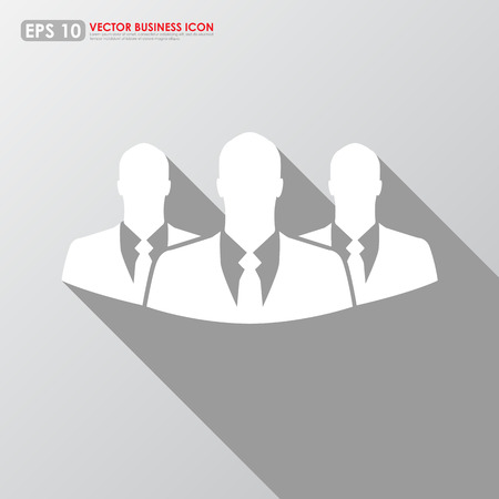 recruit suit: Three businessman icon - teamwork, relationship & HR concept