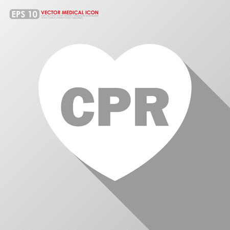 cpr: CPR sign in heart shape - medical vector icon
