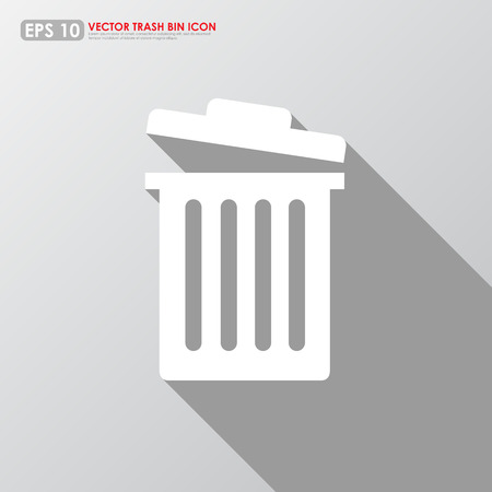 Garbage bin icon on gray background Vector
