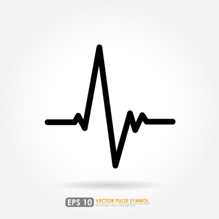 pulse trace: Electrocardiogram, ecg or ekg - medical icon Illustration