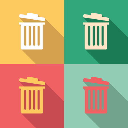 trash can: Garbage bin icon set in colorful vintage colors Illustration