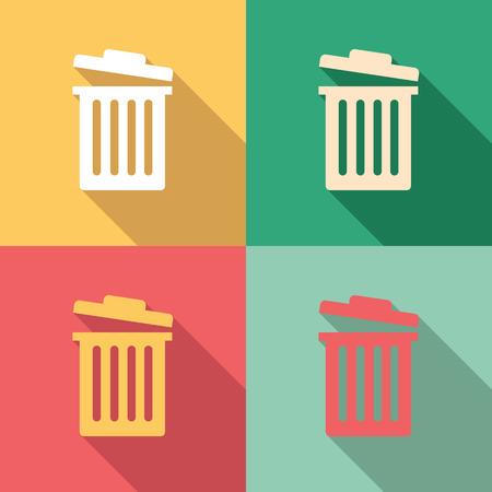 Garbage bin icon set in colorful vintage colors Illustration