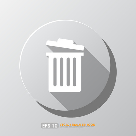 White garbage bin icon with shadow in circle - mobile & web icon Vector