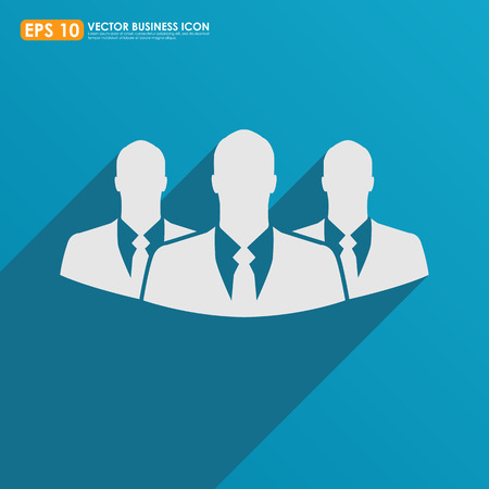 recruit suit: Three businessman icon on blue background - teamwork, relationship & HR concept