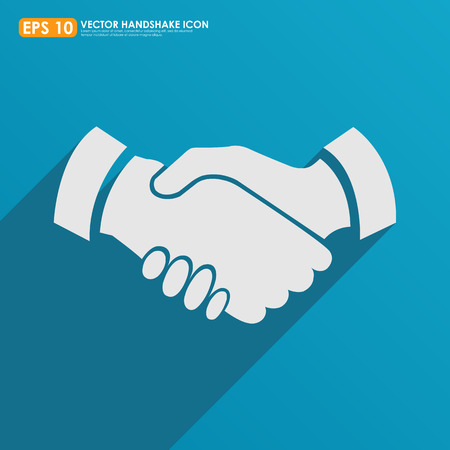 approve icon: Handshake icon on blue background