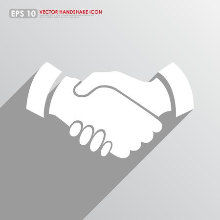 Handshake icon on gray background