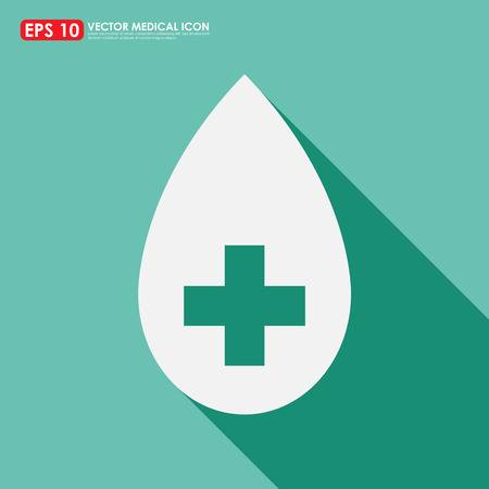 cross light: Drop icon with cross sign on light green background - medical symbol
