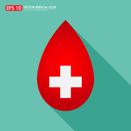 red cross: Red blood drop icon with cross sign - medical symbol