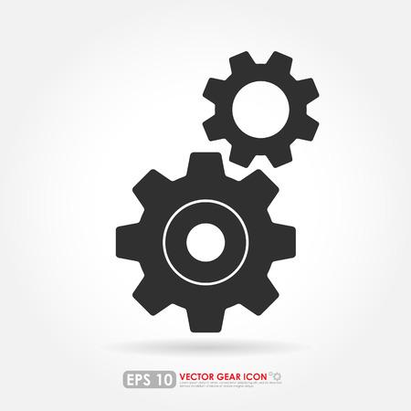 cogwheels: Simple dark gray gear or cog set - vector icon