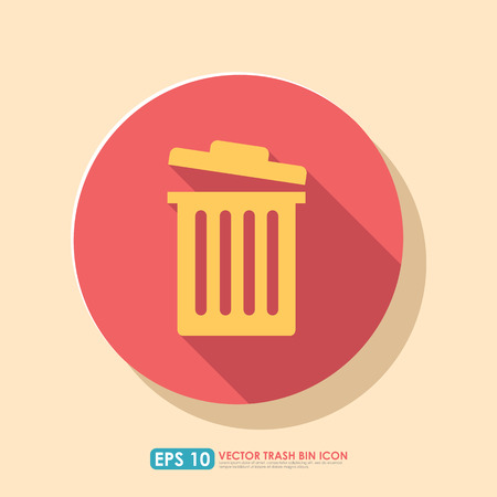 Colorful trash bin icon with shadow in circle - mobile & web icon Vector