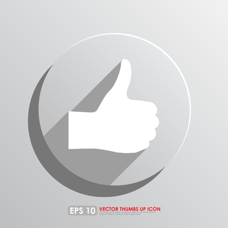favourite: Thumbs up sign in gray circle - vector icon - like   favourite concept