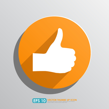 great job: Thumbs up sign in orange circle - vector icon - like   favourite concept