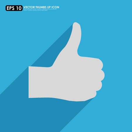 thumbs up icon: Pulgar hacia arriba icono con la sombra en azul