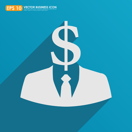 Businessman icon with dollar sign head on blue background - business abstract